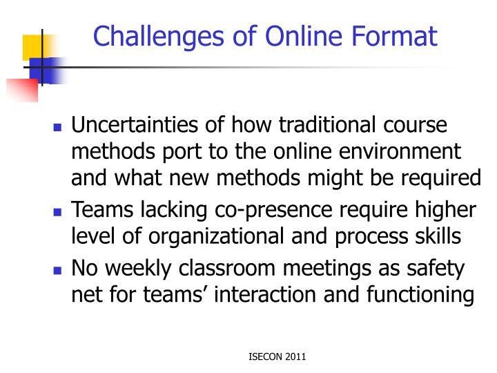 Challenges of Online Format
