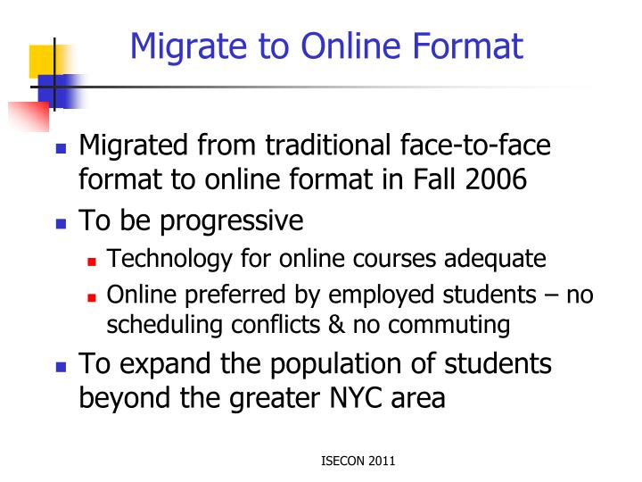 Migrate to Online Format