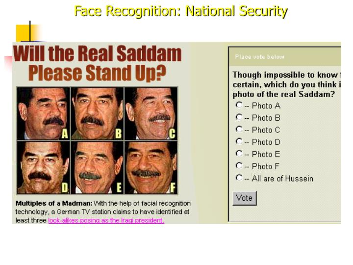Face Recognition: National Security