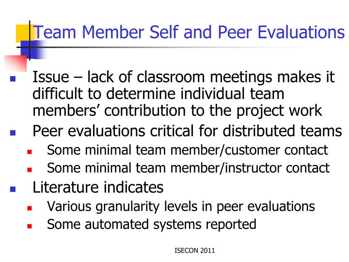 Team Member Self and Peer Evaluations