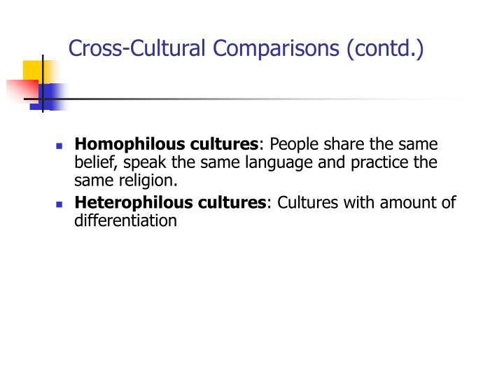 Cross-Cultural Comparisons (contd.)