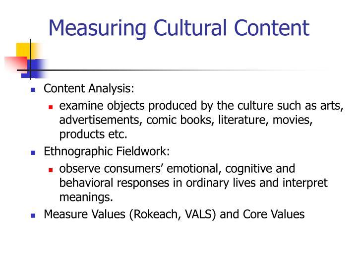 Measuring Cultural Content