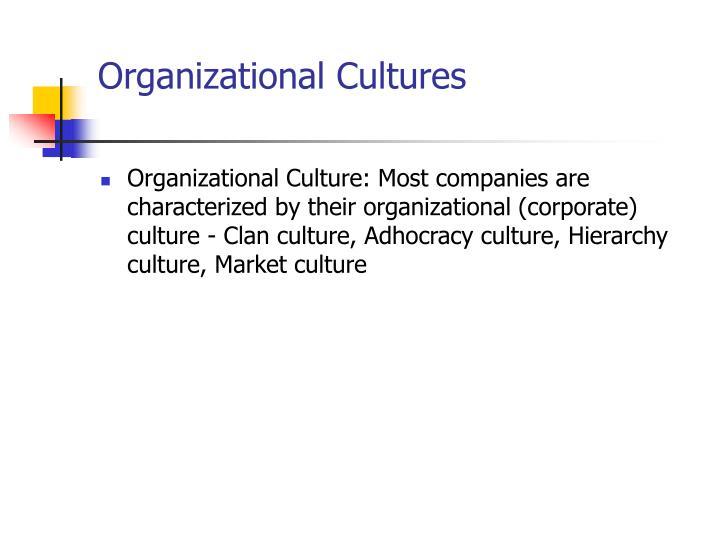 Organizational Cultures
