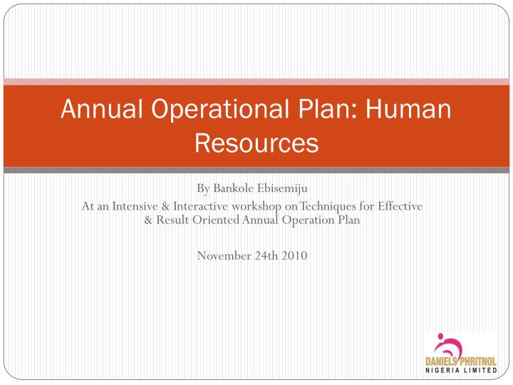 Annual operational plan human resources