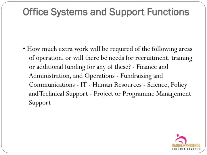Office Systems and Support Functions