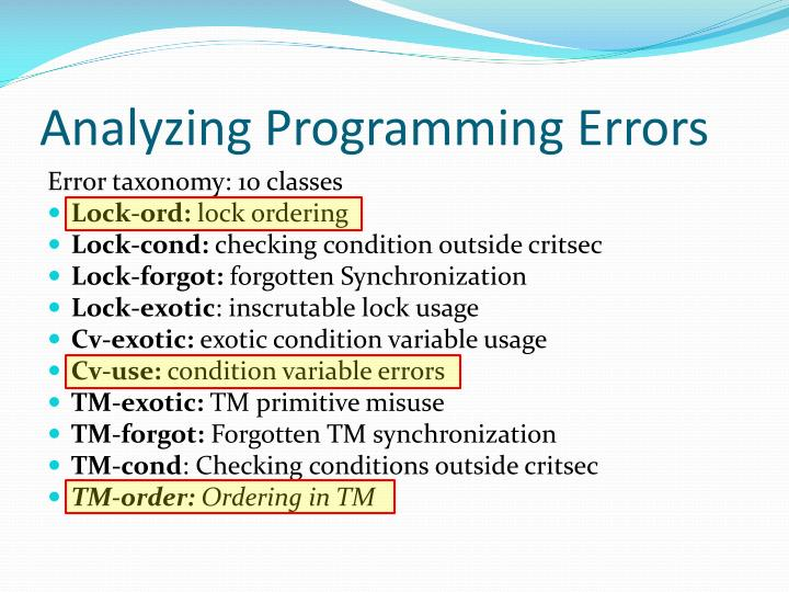 Analyzing Programming Errors