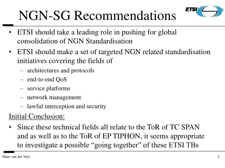 NGN-SG Recommendations