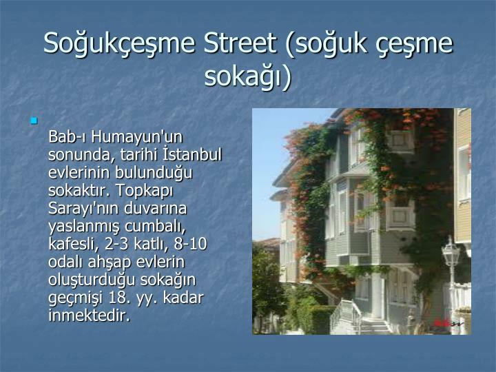 Bab-ı Humayun'un sonunda, tarihi İstanbul evlerinin bulunduğu sokaktır. Topkapı Sarayı'nın duvarına yaslanmış cumbalı, kafesli, 2-3 katlı, 8-10 odalı ahşap evlerin oluşturduğu sokağın geçmişi 18. yy. kadar inmektedir.