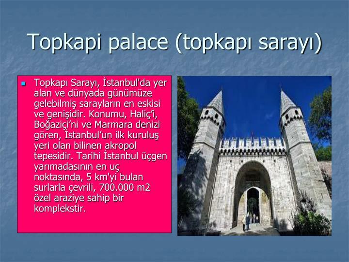Topkapı Sarayı, İstanbul'da yer alan ve dünyada günümüze gelebilmiş sarayların en eskisi ve genişidir. Konumu, Haliç'i, Boğaziçi'ni ve Marmara denizi gören, İstanbul'un ilk kuruluş yeri olan bilinen akropol tepesidir. Tarihi İstanbul üçgen yarımadasının en uç noktasında, 5 km'yi bulan surlarla çevrili, 700.000 m2 özel araziye sahip bir komplekstir.