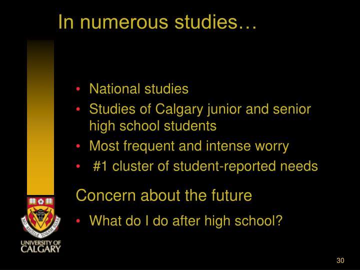 In numerous studies…