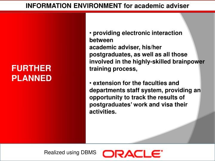 INFORMATION ENVIRONMENT for academic adviser