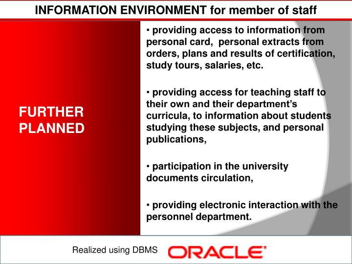 INFORMATION ENVIRONMENT for member of staff