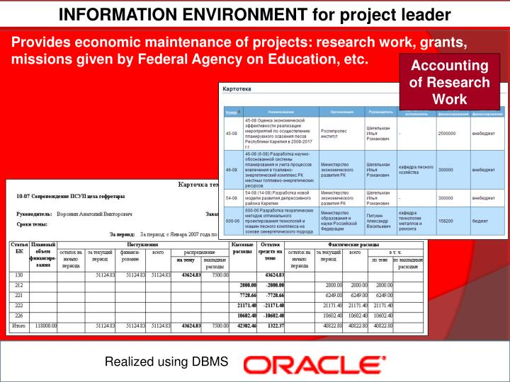 INFORMATION ENVIRONMENT for project leader