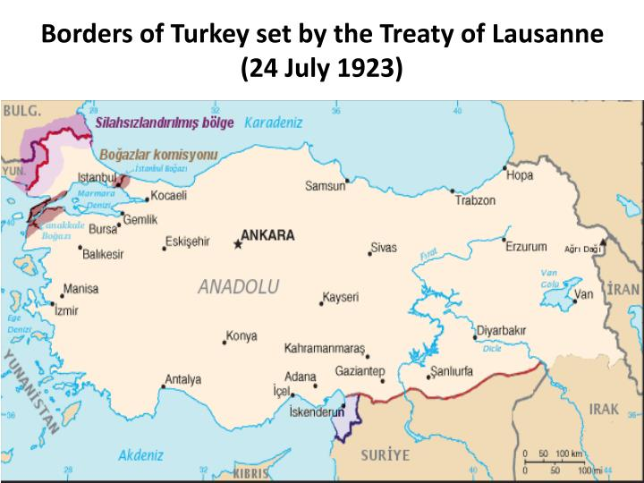 Borders of Turkey set by the Treaty of Lausanne