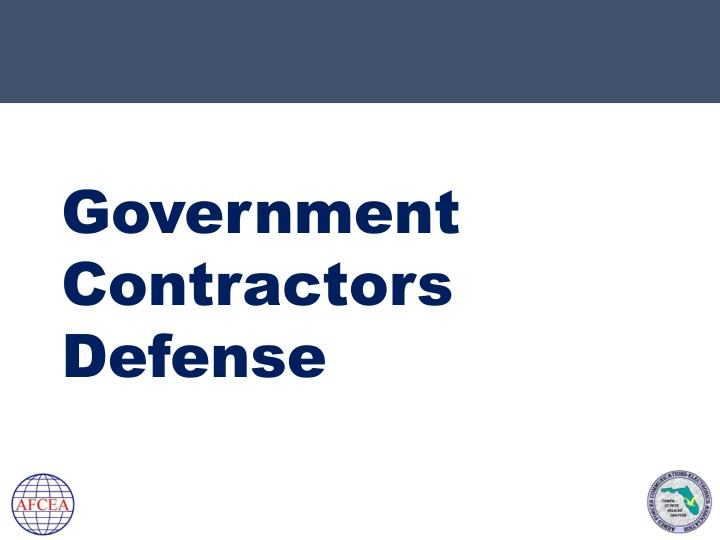 Government contractors defense