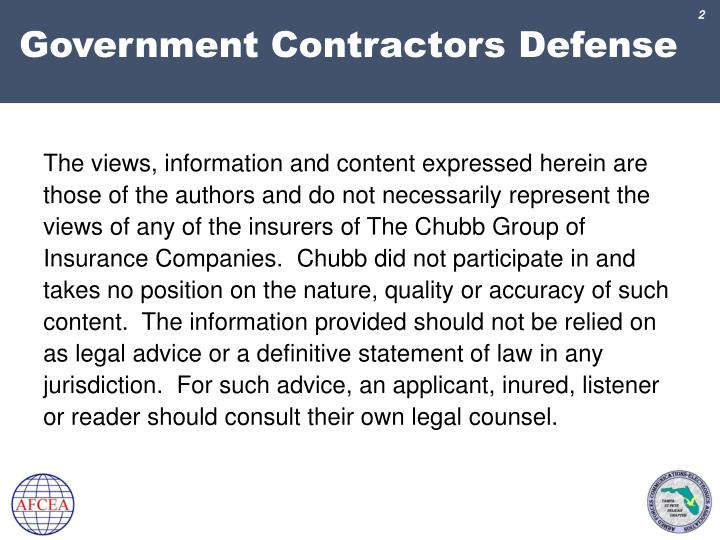 Government contractors defense1