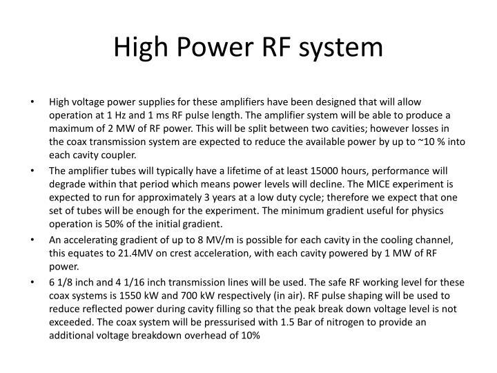 High Power RF system