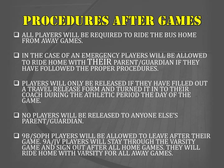 PROCEDURES AFTER GAMES