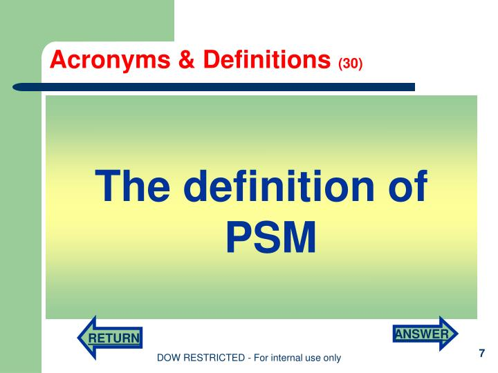 Acronyms & Definitions