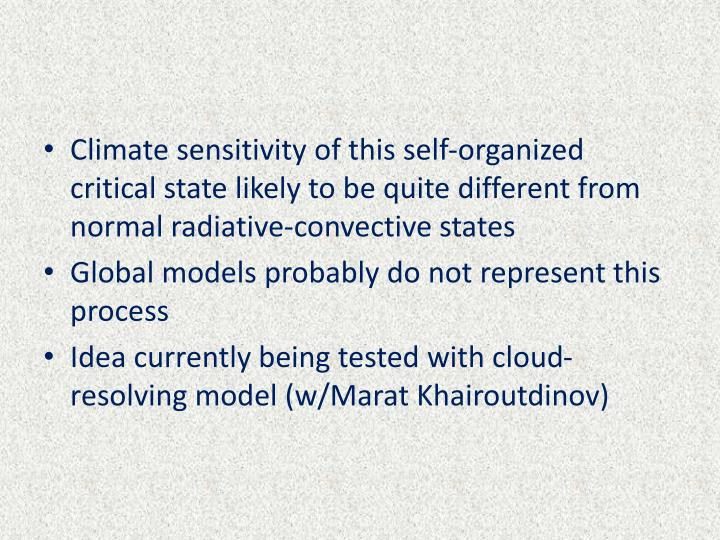 Climate sensitivity of this self-organized critical state likely to be quite different from normal radiative-convective states