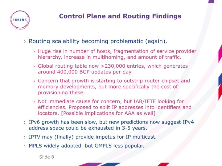 Control Plane and Routing Findings