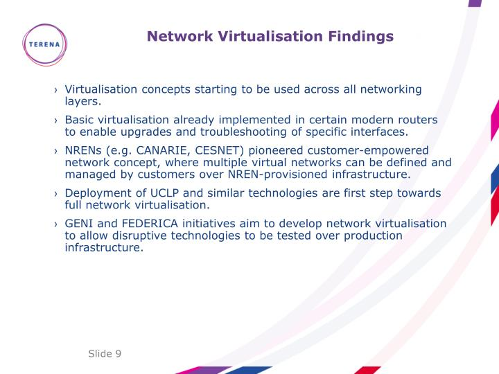 Network Virtualisation Findings