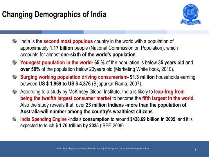 Changing Demographics of India