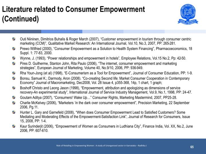 Literature related to Consumer Empowerment (Continued)