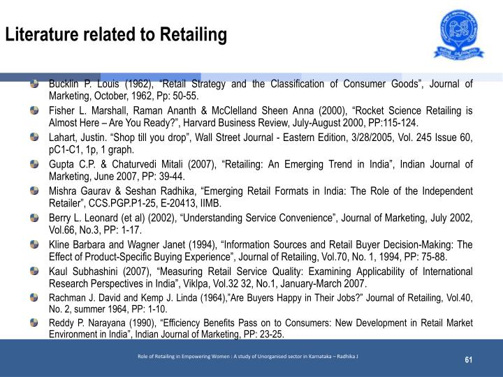 Literature related to Retailing