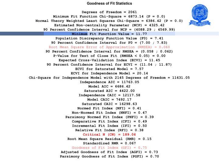 Goodness of Fit Statistics