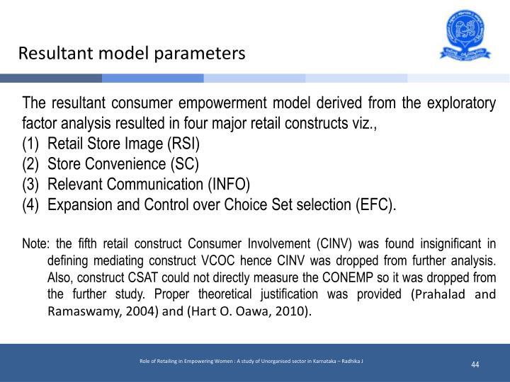 Resultant model parameters