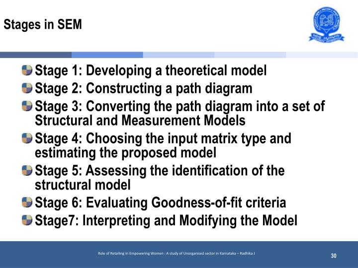 Stages in SEM