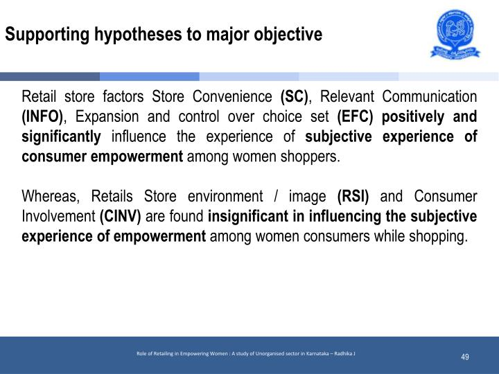 Supporting hypotheses to major objective