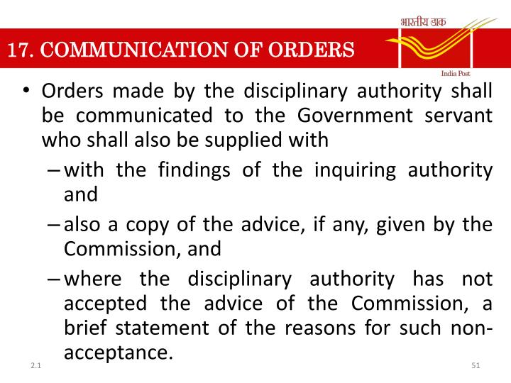 17. COMMUNICATION OF ORDERS