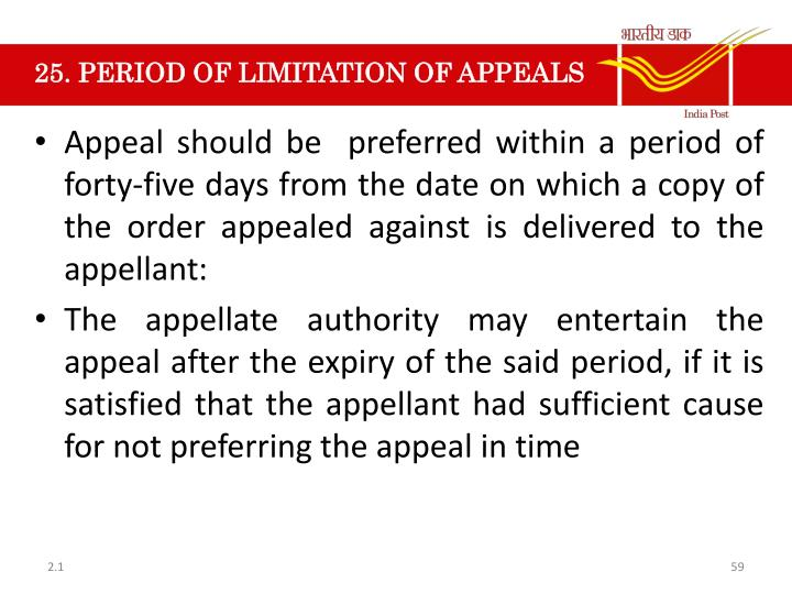 25. PERIOD OF LIMITATION OF APPEALS