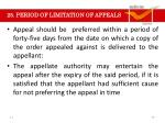 25 period of limitation of appeals