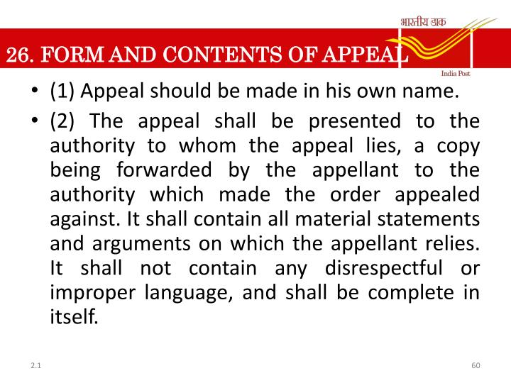 26. FORM AND CONTENTS OF APPEAL