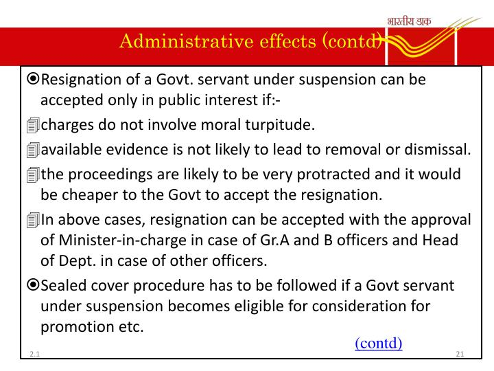 Administrative effects (