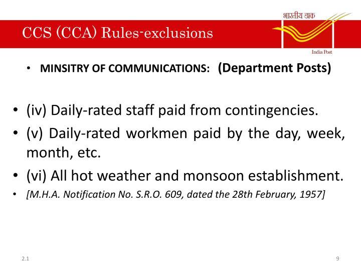 CCS (CCA) Rules-exclusions