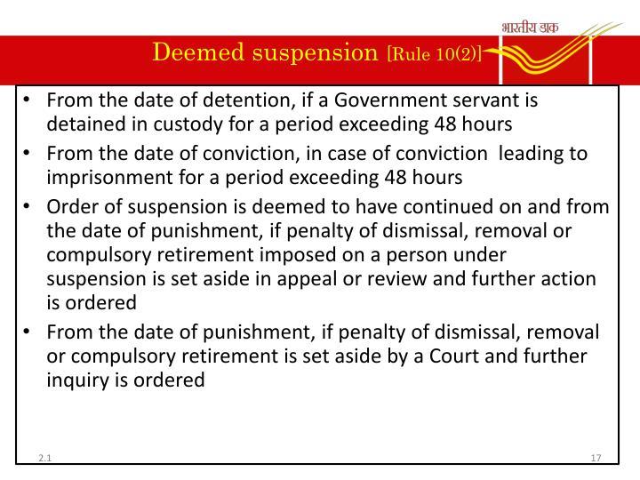 Deemed suspension