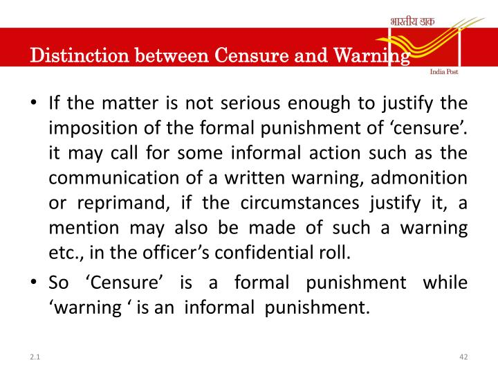 Distinction between Censure and Warning