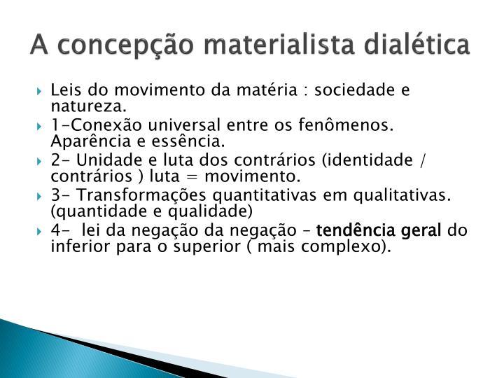 A concepção materialista dialética