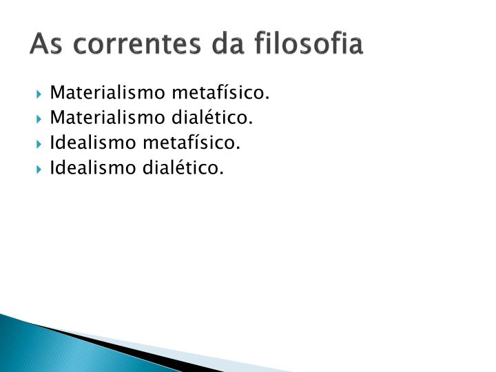 As correntes da filosofia