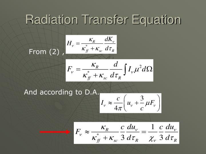 Radiation Transfer Equation