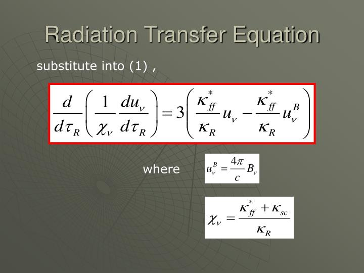 Radiation Transfer Equation