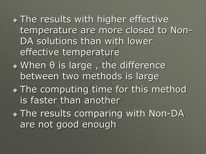 The results with higher effective temperature are more closed to Non-DA solutions than with lower effective temperature