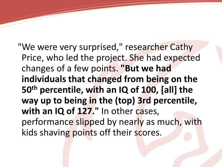 """We were very surprised,"" researcher Cathy Price, who led the project. She had expected changes of a few points."