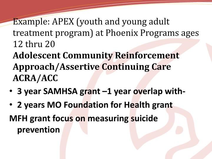 Example: APEX (youth and young adult treatment program) at Phoenix Programs ages 12 thru 20