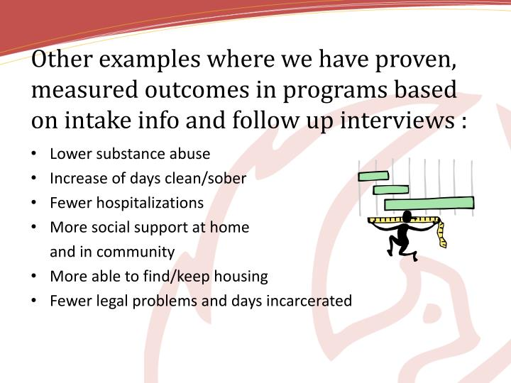 Other examples where we have proven, measured outcomes in programs based on intake info and follow up interviews :