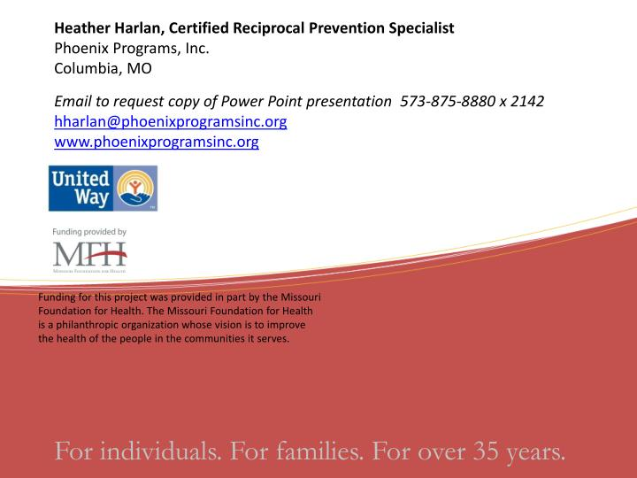 Heather Harlan, Certified Reciprocal Prevention Specialist